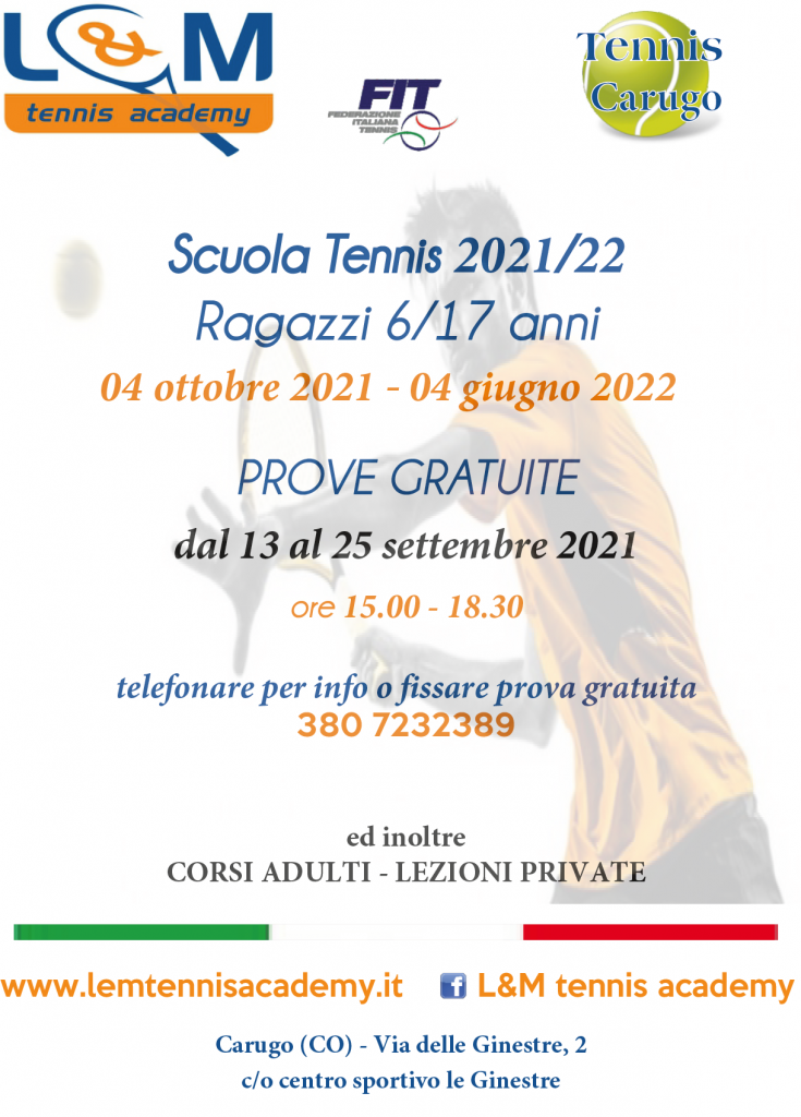 Scuola Tennis prove Gratuite a Carugo